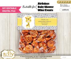 DIY Text Editable Neutral Giraffe Goodie  Treat Bag Toppers, Favor Bag Digital File, print at home