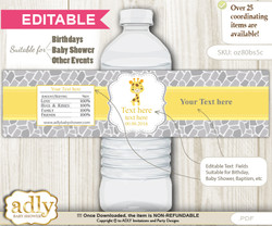 DIY Text Editable Neutral Giraffe Water Bottle Label, Personalizable Wrapper Digital File, print at home for any event