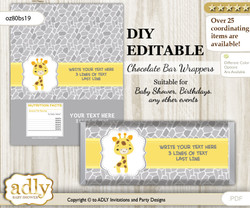 DIY Personalizable Neutral Giraffe Chocolate Bar Candy Wrapper Label for Neutral  baby shower, birthday Grey Yellow , editable wrappers