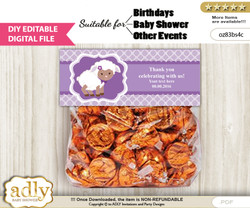 DIY Text Editable Purple Lamb Goodie  Treat Bag Toppers, Favor Bag Digital File, print at home
