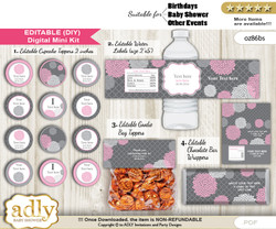 DIY Text Editable Girl Flowers Baby Shower, Birthday digital package, kit-cupcake, goodie bag toppers, water labels, chocolate bar wrappers