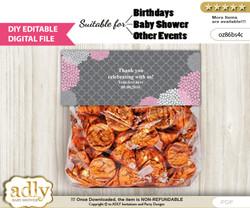 DIY Text Editable Girl Flowers Goodie  Treat Bag Toppers, Favor Bag Digital File, print at home