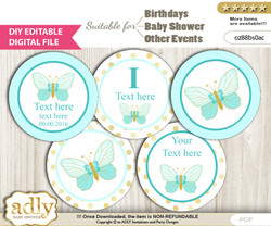 DIY Text Editable Neutral Butterfly Cupcake Toppers Digital File, print at home, suitable for birthday, baby shower, baptism