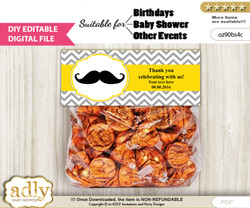 DIY Text Editable Yellow Mustache Goodie  Treat Bag Toppers, Favor Bag Digital File, print at home