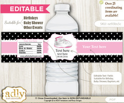 DIY Text Editable Girl Jumpman Water Bottle Label, Personalizable Wrapper Digital File, print at home for any event