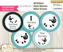 DIY Text Editable Boy Lamb Cupcake Toppers Digital File, print at home, suitable for birthday, baby shower, baptism b