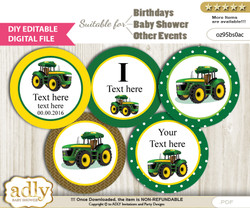 DIY Text Editable Boy Tractor Cupcake Toppers Digital File, print at home, suitable for birthday, baby shower, baptism