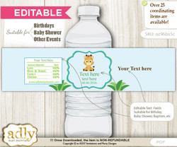 DIY Text Editable Boy Giraffe Water Bottle Label, Personalizable Wrapper Digital File, print at home for any event