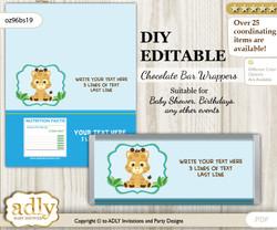 DIY Personalizable Boy Giraffe Chocolate Bar Candy Wrapper Label for Boy  baby shower, birthday Blue Green , editable wrappers