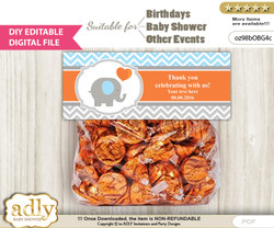 DIY Text Editable Boy Elephant Goodie  Treat Bag Toppers, Favor Bag Digital File, print at home  nn