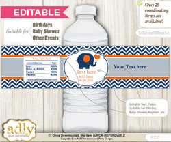 DIY Text Editable Boy Elephant Water Bottle Label, Personalizable Wrapper Digital File, print at home for any event  m