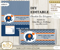 DIY Personalizable Boy Elephant Chocolate Bar Candy Wrapper Label for Boy  baby shower, birthday Orange Blue , editable wrappers m