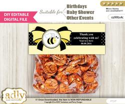 DIY Text Editable Girl Bee Goodie  Treat Bag Toppers, Favor Bag Digital File, print at home