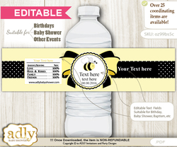 DIY Text Editable Girl Bee Water Bottle Label, Personalizable Wrapper Digital File, print at home for any event