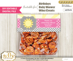 DIY Text Editable Girl Sunshine Goodie  Treat Bag Toppers, Favor Bag Digital File, print at home