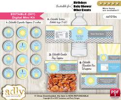 DIY Text Editable Boy Sunshine Baby Shower, Birthday digital package, kit-cupcake, goodie bag toppers, water labels, chocolate bar wrappers