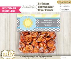 DIY Text Editable Boy Sunshine Goodie  Treat Bag Toppers, Favor Bag Digital File, print at home