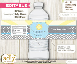 DIY Text Editable Boy Sunshine Water Bottle Label, Personalizable Wrapper Digital File, print at home for any event