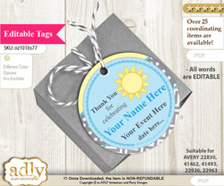 Boy Sunshine Thank You Tags, Circle Favor Tags Personalizable for Shower, Birthday