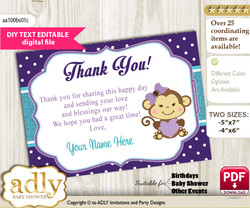 DIY Editable Girl Monkey Thank you Printable card, only text editable thank you for Baby Shower or Birthday Party