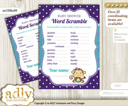 Girl Monkey Word Scramble Game for Baby Shower n