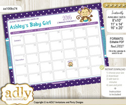 DIY Girl Monkey Baby Due Date Calendar, guess baby arrival date game n