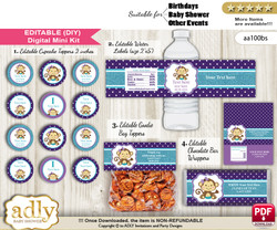 DIY Text Editable Girl Monkey Baby Shower, Birthday digital package, kit-cupcake, goodie bag toppers, water labels, chocolate bar wrappers n
