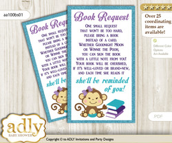 Request a Book Instead of a Card for Girl Monkey Baby Shower or Birthday, Printable Book DIY Tickets, Polka, Purple Teal n
