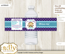 Girl Monkey Water Bottle Wrappers, Labels for a Monkey  Baby Shower, Purple Teal, Polka
