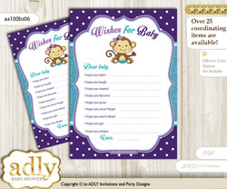 Girl Monkey Wishes for a Baby, Well Wishes for a Little Monkey Printable Card, Polka, Purple Teal