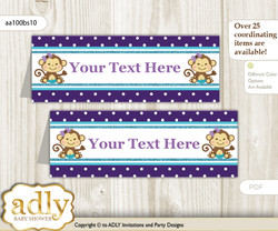DIY Text Editable Printable Girl Monkey Buffet Tags or Food Tent Labels  for a Baby Shower or Birthday , Purple Teal, Polka