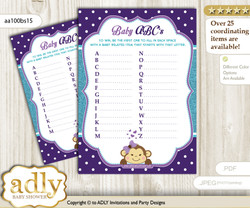 Girl Monkey Baby ABC's Game, guess Animals Printable Card for Baby Monkey Shower DIY – Polka n