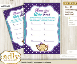 Girl Monkey Guess Baby Food Game or Name That Baby Food Game for a Baby Shower, Purple Teal Polka n