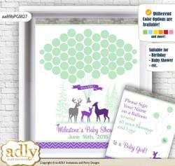 Girl Deer Guest Book Alternative for a Baby Shower, Creative Nursery Wall Art Gift, Purple Mint, Forest