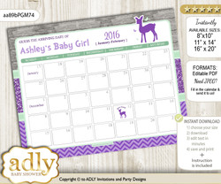DIY Girl Deer Baby Due Date Calendar, guess baby arrival date game m