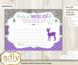 Purple Mint Girl Deer Words of Wisdom or an Advice Printable Card for Baby Shower, Forest m