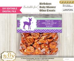 DIY Text Editable Girl Deer Goodie  Treat Bag Toppers, Favor Bag Digital File, print at home