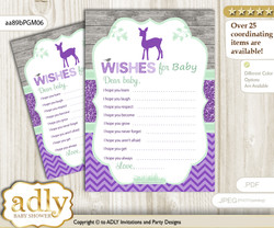 Girl Deer Wishes for a Baby, Well Wishes for a Little Deer Printable Card, Forest, Purple Mint