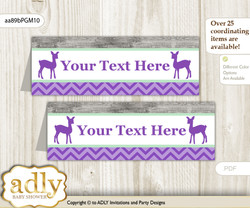 DIY Text Editable Printable Girl Deer Buffet Tags or Food Tent Labels  for a Baby Shower or Birthday , Purple Mint, Forest