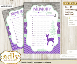 Girl Deer Memory Game Card for Baby Shower, Printable Guess Card, Purple Mint, Forest m