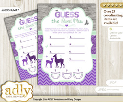 Girl Deer Dirty Diaper Game or Guess Sweet Mess Game for a Baby Shower Purple Mint, Forest m