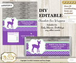 DIY Personalizable Girl Deer Chocolate Bar Candy Wrapper Label for Girl  baby shower, birthday Purple Mint , editable wrappers m