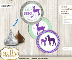 Printable  Girl Deer Candy Kisses for Baby Girl Shower DIY Purple Mint , Forest