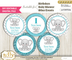 DIY Text Editable Peanut Unisex Cupcake Toppers Digital File, print at home, suitable for birthday, baby shower, baptism