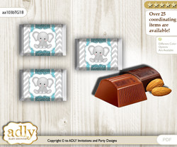 Peanut Unisex Chocolate Nuggets Candy Wrapper Label for Baby Peanut Shower  Teal Gray , Chevron