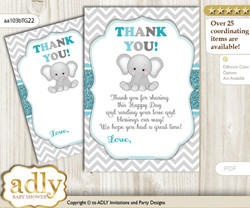 Peanut  Unisex Thank you Cards for a Baby Peanut Shower or Birthday DIY Teal Gray, Chevron