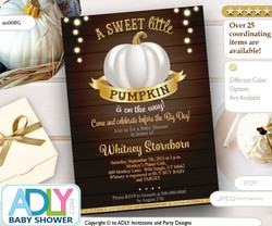 White Gold Pumpkin Neutral Baby Shower Invitation, Print at Home, fall baby shower