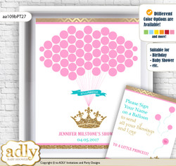 Princess  Royal Guest Book Alternative for a Baby Shower, Creative Nursery Wall Art Gift, Pink Turquoise, Crown