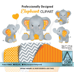 Orange and Gray Baby Elephants Peanut Balloon Clipart