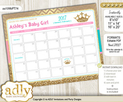 DIY Princess  Royal Baby Due Date Calendar, guess baby arrival date game